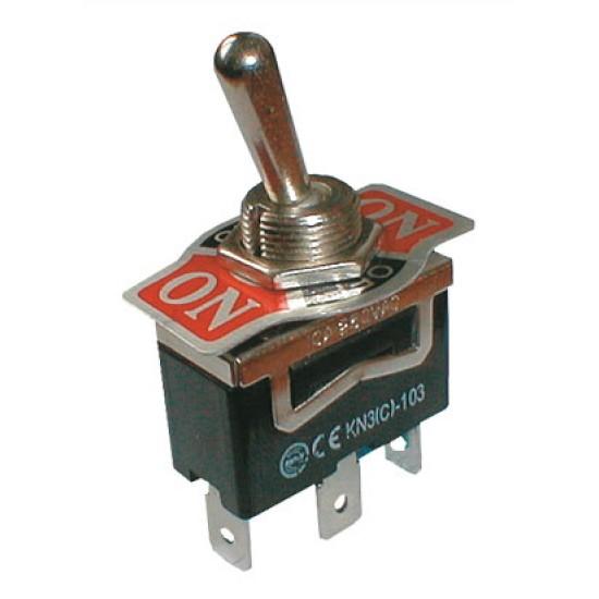 Prepínač páčkový 3pol. 3pin ON-OFF-ON 250V 10A
