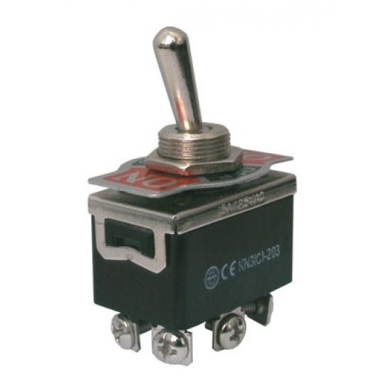 Prepínač páčkový 3pol. 6pin ON-OFF-ON 250V 10A šroub.