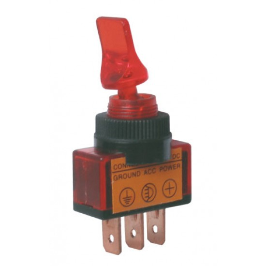 Prepínač páčkový 2pol. 3pin ON-OFF 12VDC prosv. červený