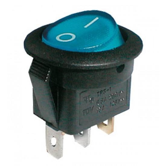 Prepínač kolískový guľ. pros. 2pol. 3pin ON-OFF 250V 6A modrý