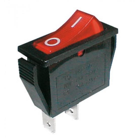 Prepínač kolískový 2pol. 2pin ON-OFF 250V 15A červený