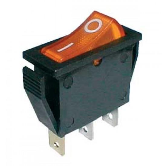 Prepínač kolískový 2pol. 3pin ON-OFF 250V 15A dec. žltý