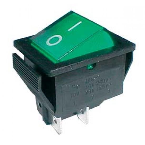 Prepínač kolískový 2pol. 4pin ON-OFF 250V 15A pros. zelený