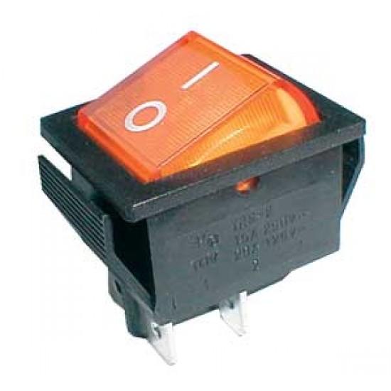 Prepínač kolískový 2pol. 4pin ON-OFF 250V 15A pros. žlutý
