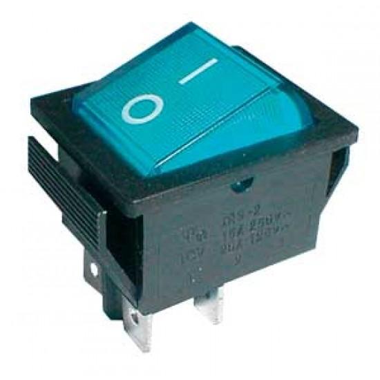 Prepínač kolískový 2pol. 4pin ON-OFF 250V 15A pros. modrý