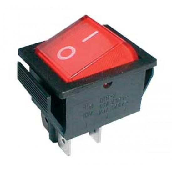 Prepínač kolískový 2pol. 4pin ON-OFF 250V 15A červený