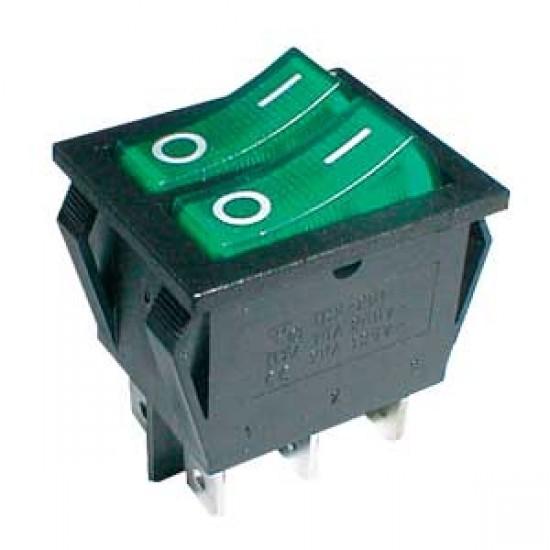 Prepínač kolískový 2x(2pol. 3pin) ON-OFF 250V 15A pros. zelený