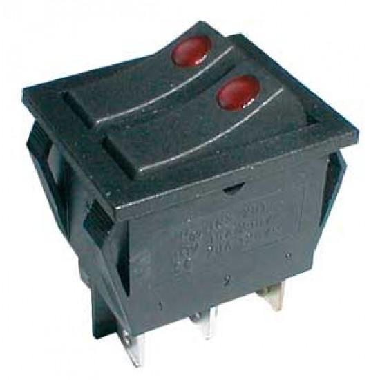Prepínač kolískový 2x(2pol. 3pin) ON-OFF 250V 15A pros. bod R