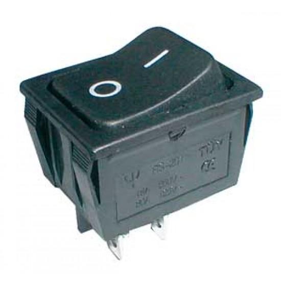 Prepínač kolískový 2pol. 4pin ON-OFF 250V 15A čierny