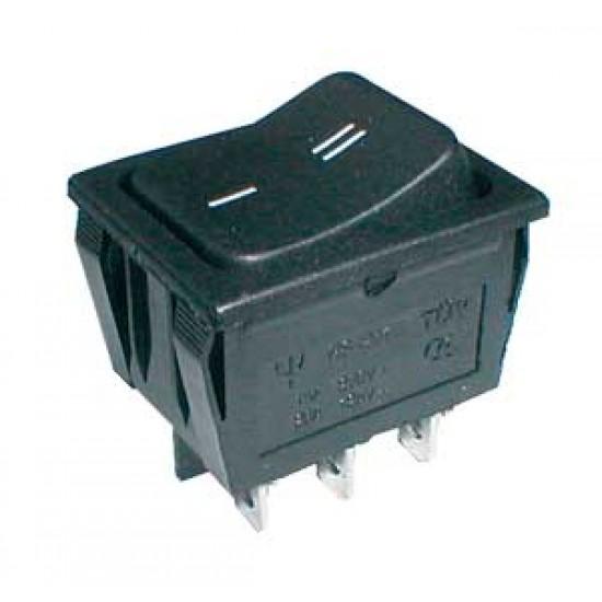 Prepínač kolískový 2pol. 6pin ON-ON 250V 15A černý