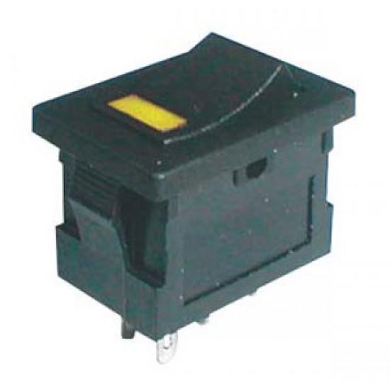 Prepínač kolískový 2pol. 4pin ON-OFF 250V 3A LED žlutý