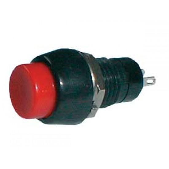 Prepínač tlačidlo guľ. OFF- (ON) stred. červený (12V)