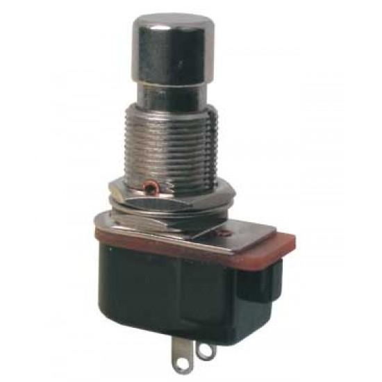 Prepínač tlačítko guľ. ON-(OFF) 12V kov