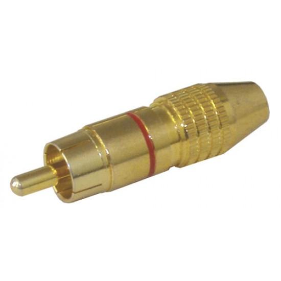 Konektor CINCH kábel kov zlatý pr.5-6mm červený