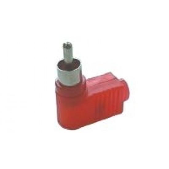 Konektor CINCH kábel plast uhlový červený