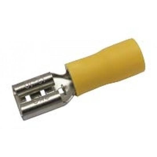 Zdierka faston 6.3mm, vodič 4.0-6.0mm žltá