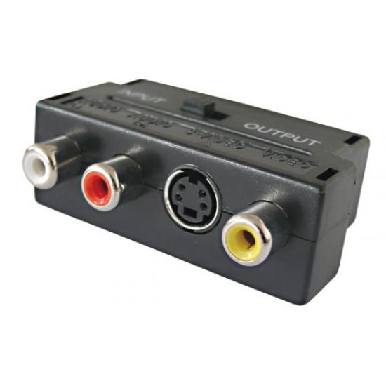 Redukcia Scart konektor / 3 x CINCH zdierka + SVHS + prepínač IN / OUT