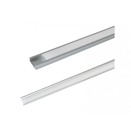 Hliníkový profil AS5 pre LED pásiky, povrchový, s difúzorom, 1m
