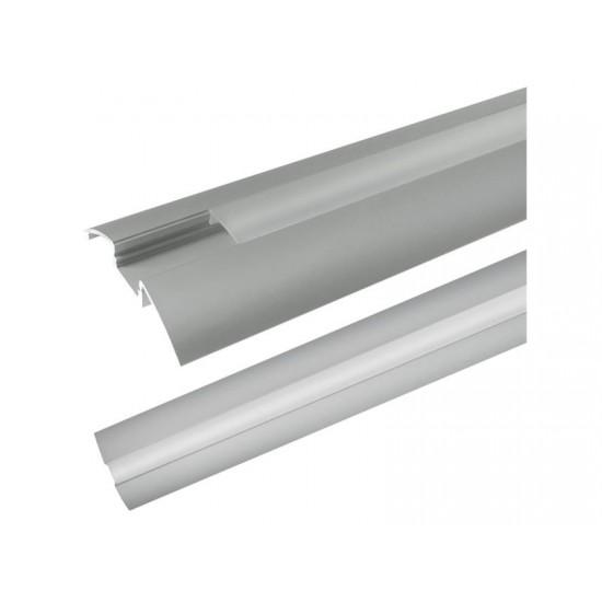 Hliníkový profil AR6 pre LED pásiky, povrchový, s difúzorom, 1m
