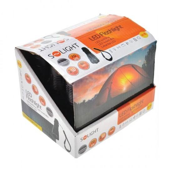 Solight kovová baterka malá, 1W LED, čierna, 1x AA