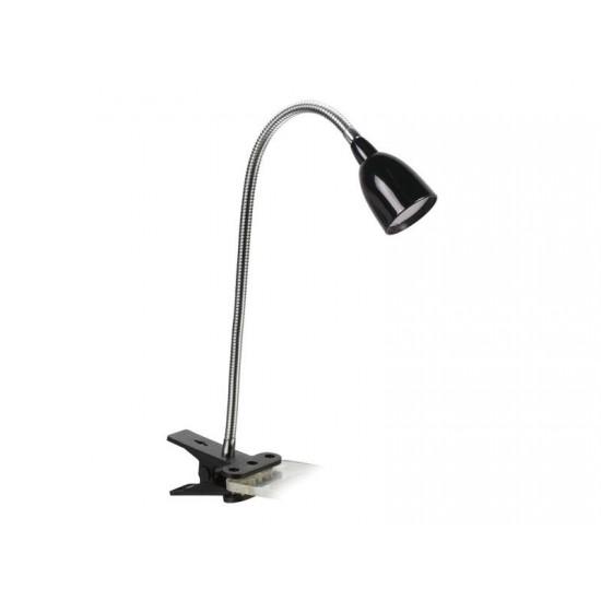 LED stolná lampička, 2.5W, 3000K, clip, čierna farba
