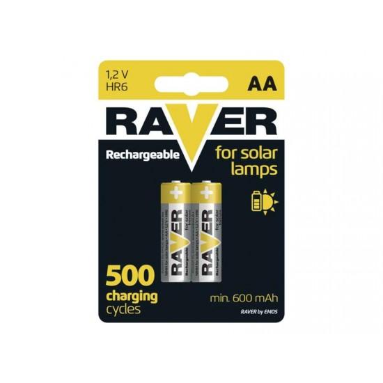 Batéria AA (R6) nabíjacia RAVER solar 600mAh