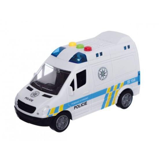 Detská policajná dodávka na zotrvačník TEDDIES so zvukom a svetlom 15 cm