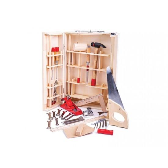 Detský kuforík s náradím BIGJIGS TOYS Junior drevený
