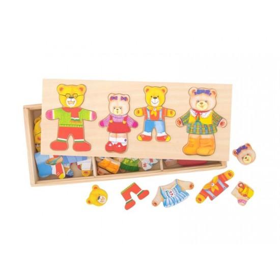 Detské oblékací puzzle BIGJIGS TOYS Medvedí rodinka drevené