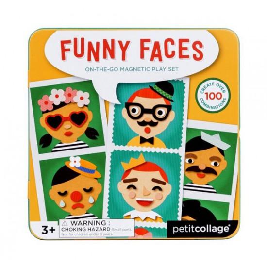 Detské magnetické puzzle PETITCOLLAGE Veselé tváre drevené