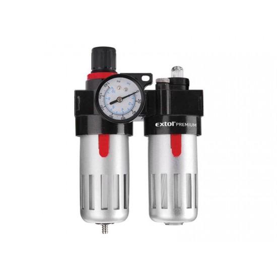 Regulátor tlaku so vzduchovým filtrom, primazávačom a manometrom EXTOL PREMIUM 8865105