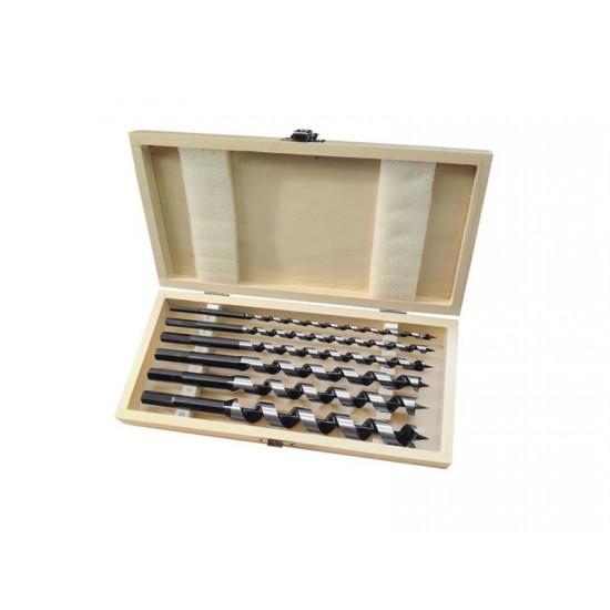 Vrtáky do dreva 16-20mm, dĺžka 260mm, sada 6ks, drevevné puzdro, EXTOL PREMIUM