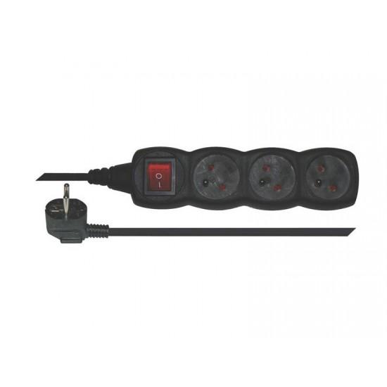 Predlžovací prívod s vypínačom 3 zásuvky 5m černý