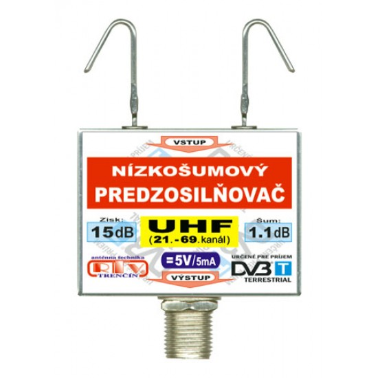 Anténny zosilňovač RTV ELEKTRONICS DVB-T UHF 5V 15dB F
