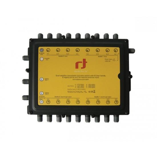 Satelitný multiprepínač Inverto 9/8 Unicable / Kaskádový + 2 standardní výstupy